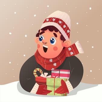 스웨터와 비니 모자를 쓴 귀여운 소년은 크리스마스 이브를 축하하며 많은 선물 삽화를 받았습니다