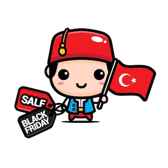 Cute boy with turkish flag and black friday discount coupon