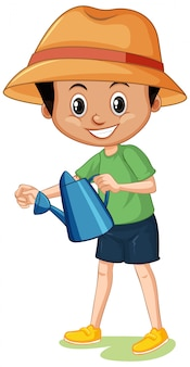 Cute boy with watering can on white