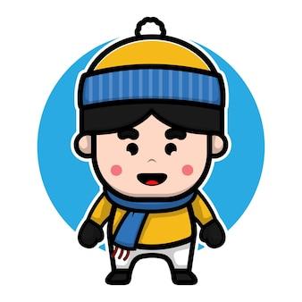 Cute boy with winter costume cartoon vector