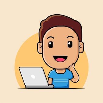 ノートパソコンの漫画イラストに取り組んでいるかわいい男の子