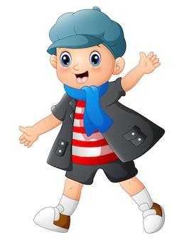 Векторная иллюстрация cute boy мультфильм создает