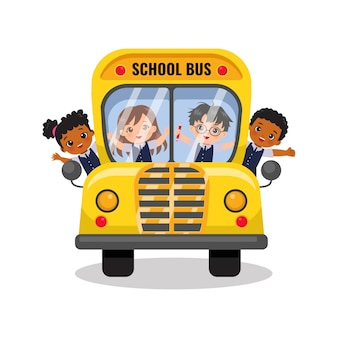 Симпатичные мальчики и девочки едут в школьном автобусе обратно в школу концепции плоский векторный мультфильм дизайн