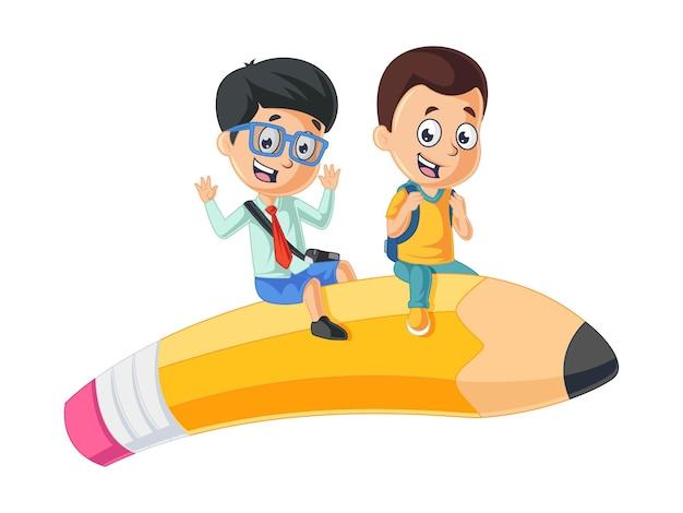 귀여운 소년 연필 로켓에 앉아 학교 그림으로 돌아 가기