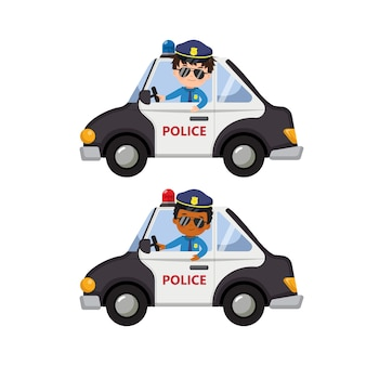 Симпатичные мальчики в форме полицейского за рулем полицейской машины. клип-арт плоский мультяшный изолированные