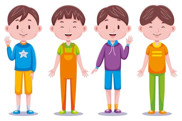 Cute boys kids illustration