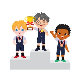 Cute boys in school uniform standing in podium as winner of gold, silver, and bronze medal.