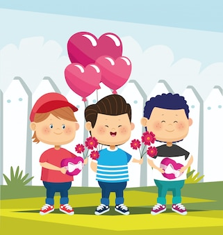 Cute boys with flowers and heart ballons over white fence