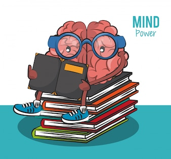 Cute brain cartoon seated on books and reading vector illustration graphic design