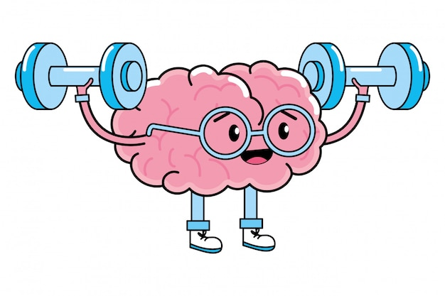 Cute brain cartoon