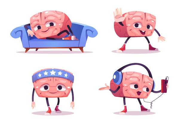 Cute brain character in different poses. set of cartoon chat bot, funny human brain relax on sofa, sport training and listen music in headphones. creative emoji set, smart mascot