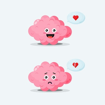 A cute brain character with happy and sad expressions