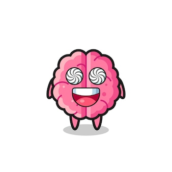 Cute brain character with hypnotized eyes , cute style design for t shirt, sticker, logo element