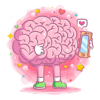 Cute brain does the love chatting on her phone of illustration