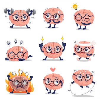 The cute brain is showing emotions and activities that develop healthy brain.