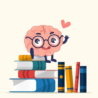 Cute brain is sitting on books that piles on the floor.