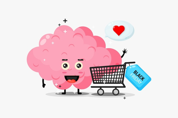 Cute brain mascot is shopping on black friday