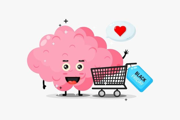 귀여운 두뇌 마스코트가 검은 금요일에 쇼핑합니다.