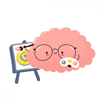 かわいい脳臓器ペイント。漫画キャラクターイラストステッカーデザイン