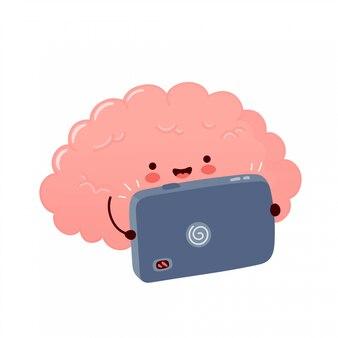 かわいい脳器官はビデオを見るか、スマートフォンで再生します。