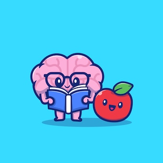 Симпатичные мозга чтение книги с apple, мультфильм значок иллюстрации. концепция образования значок изолированы. плоский мультяшный стиль