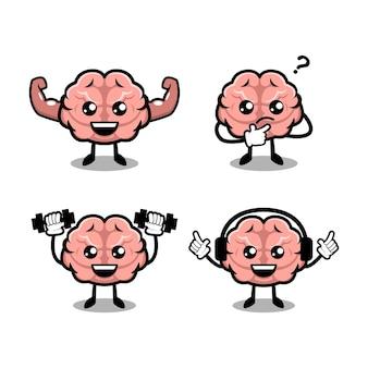 Симпатичный мозг простой талисман дизайн иллюстрации вектор шаблон