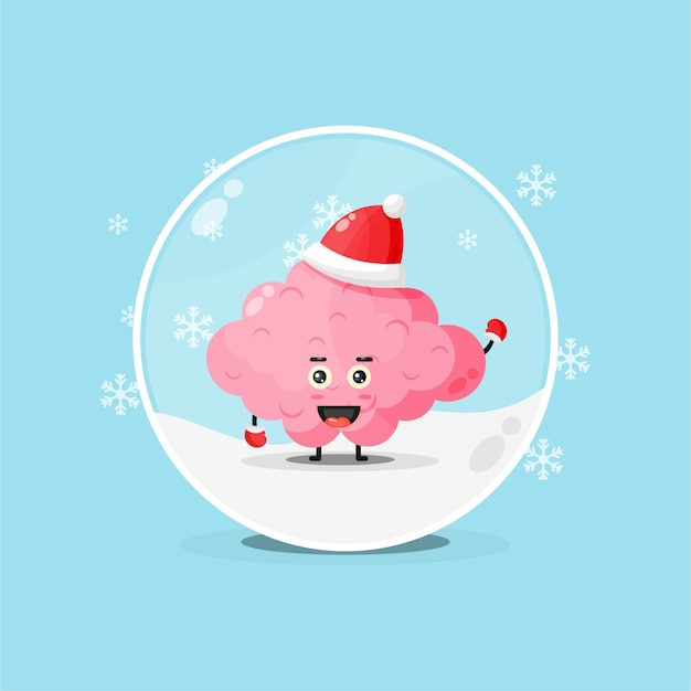 Cute brain wearing a christmas hat in a snowglobe
