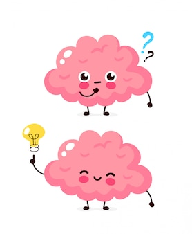 Cute brain with question mark and lightbulb character.