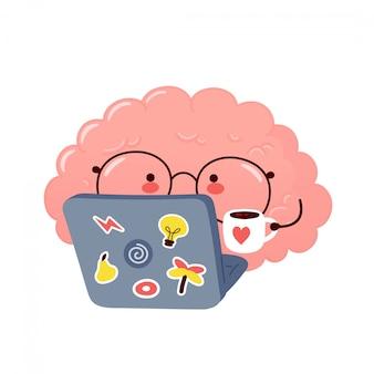 かわいい脳はノートブックで動作します。漫画キャラクターイラストデザイン。孤立した