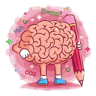 Cute brains illustration hold the big pencil of illustration