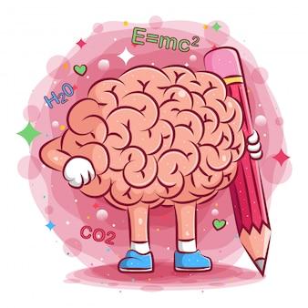 Симпатичная иллюстрация мозга держит большой карандаш иллюстрации