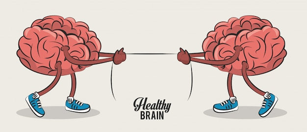 Cute brains pulling rope cartoons