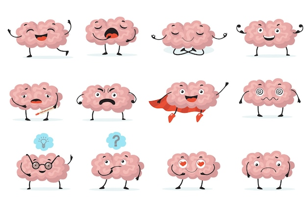 Cute brainy character expression flat icon set. cartoon brain with emotions  isolated vector illustration collection. brainpower, mind and intelligence concept