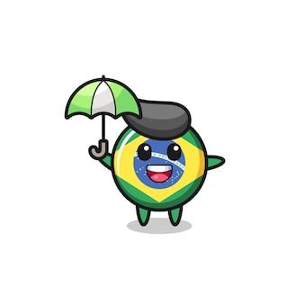 우산을 들고 있는 귀여운 브라질 국기 배지 그림, 티셔츠, 스티커, 로고 요소를 위한 귀여운 스타일 디자인