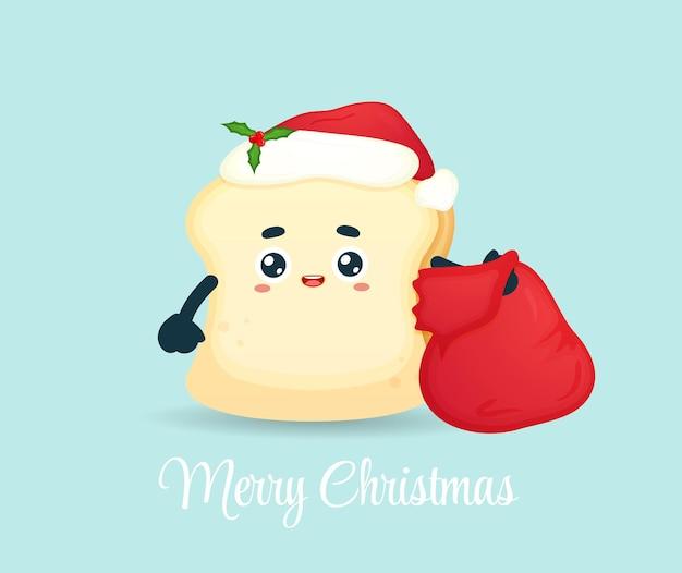 Милый хлеб с мешком подарков на рождественский праздник premium векторы