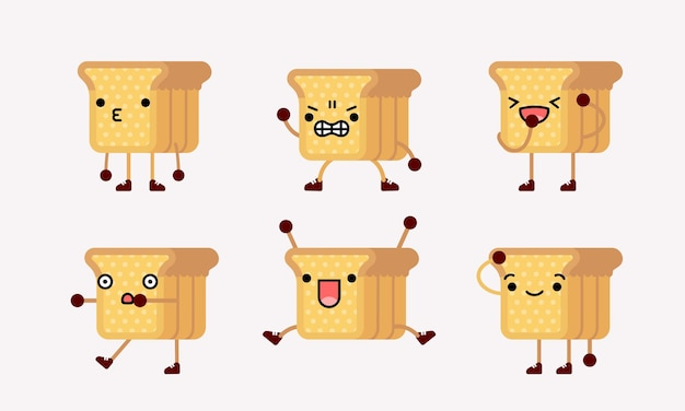 ポーズや表情の違うかわいいパンキャラクターマスコットイラスト