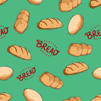 Cute bread and donut seamless pattern with hand draw or doodle style