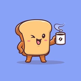 Милый хлеб пить кофе мультфильм значок иллюстрации. еда и напитки значок концепции изолированы. плоский мультяшном стиле