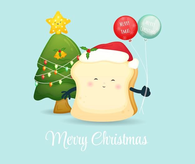 Милый хлеб с воздушным шаром на рождественский праздник premium векторы