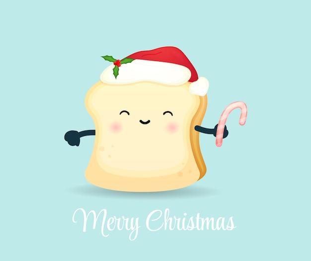 Милый хлеб с конфетой на рождественский праздник premium векторы