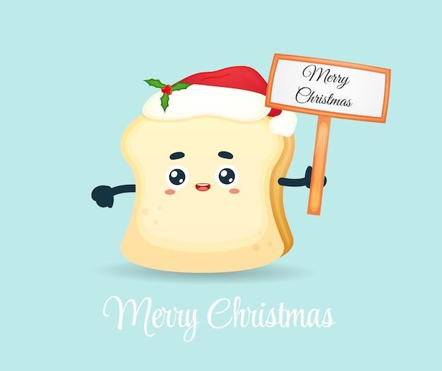 Милый хлеб с рождественским знаком на рождественский праздник premium векторы
