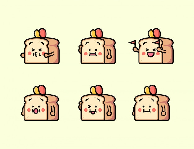 さまざまな表現のイラストでかわいいパン
