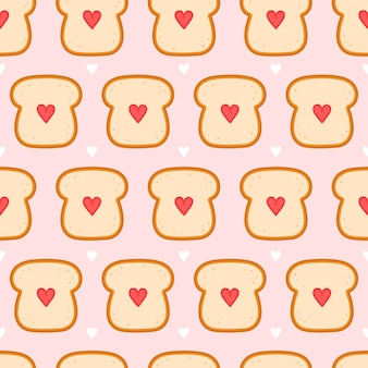 Cute bread toast with heart seamless pattern.