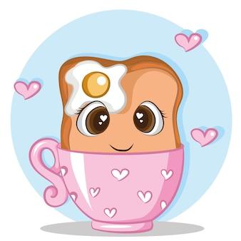 Милый хлеб с яйцом на чайной чашке характер векторной иллюстрации дизайна шаблона