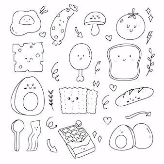 かわいい朝食の食べ物落書き漫画の描画。食用卵、ソーセージ、マッシュルーム、アボカド要素の手描き。