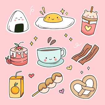 Cute breakfast food doodle sticker set