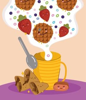 귀여운 아침 식사 신선한