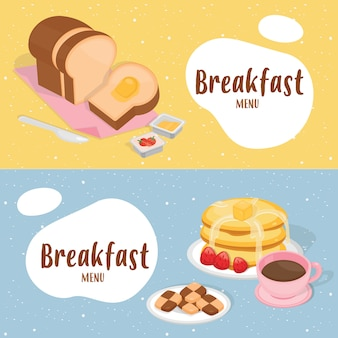 Cute breakfast illustration banner