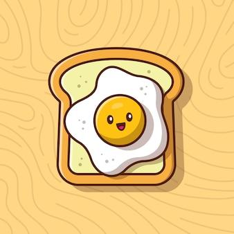 Милый завтрак поджаренный хлеб с яйцом значок иллюстрации. еда завтрак иконка концепция изолированные. плоский мультяшный стиль