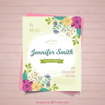 Cute bridal shower invitation with colored flowers